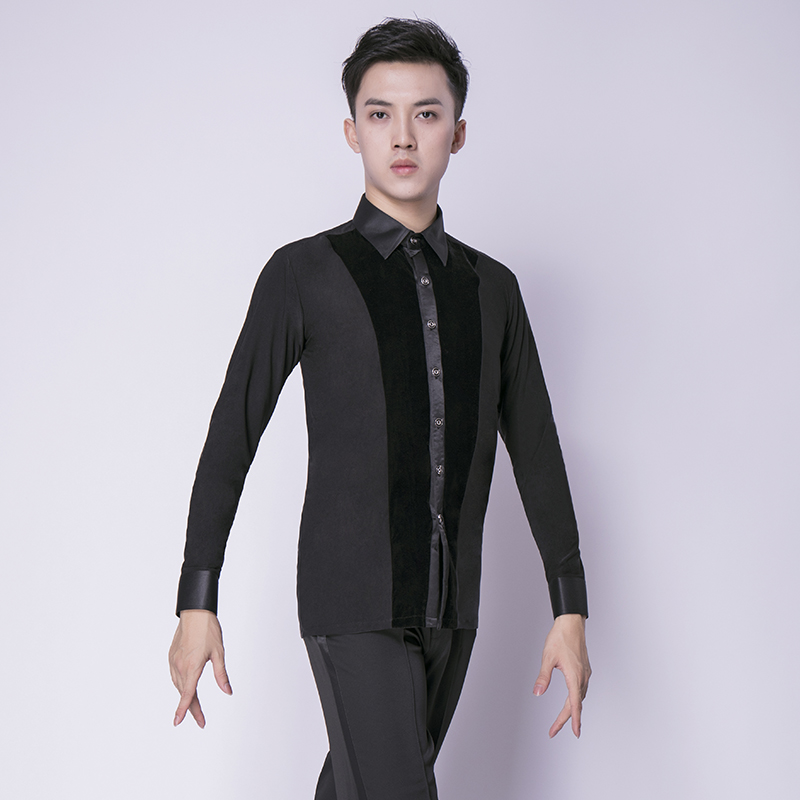 New Mens Dance Shirt Long Sleeve Ballroom Modern Salsa Tango Samba Latin Standard Competition Men Shirts Dance Tops Adult xxl
