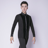 New Mens Dance Shirt Long Sleeve Ballroom Modern Salsa Tango Samba Latin Standard Competition Men Shirts Dance Tops Adult xxl