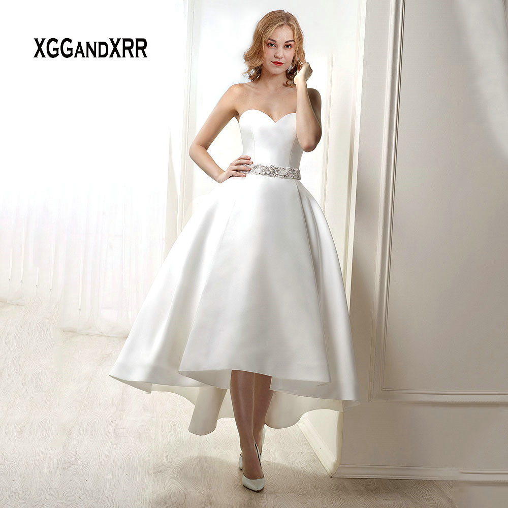 High Low Wedding Dresses.Us 152 15 15 Off Luxury High Low Wedding Dress 2019 Bridal Gown Satin Backless Sweetheart Beading Sashes Vestido De Noiva Gelinlik Plus Size Real In