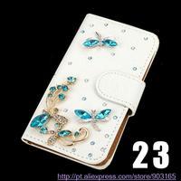NOWE mody Kryształ Bow Bling Wieża 3D Diament Skórzane Etui Pokrywa Dla Moto E (2nd gen)/MOTO E2