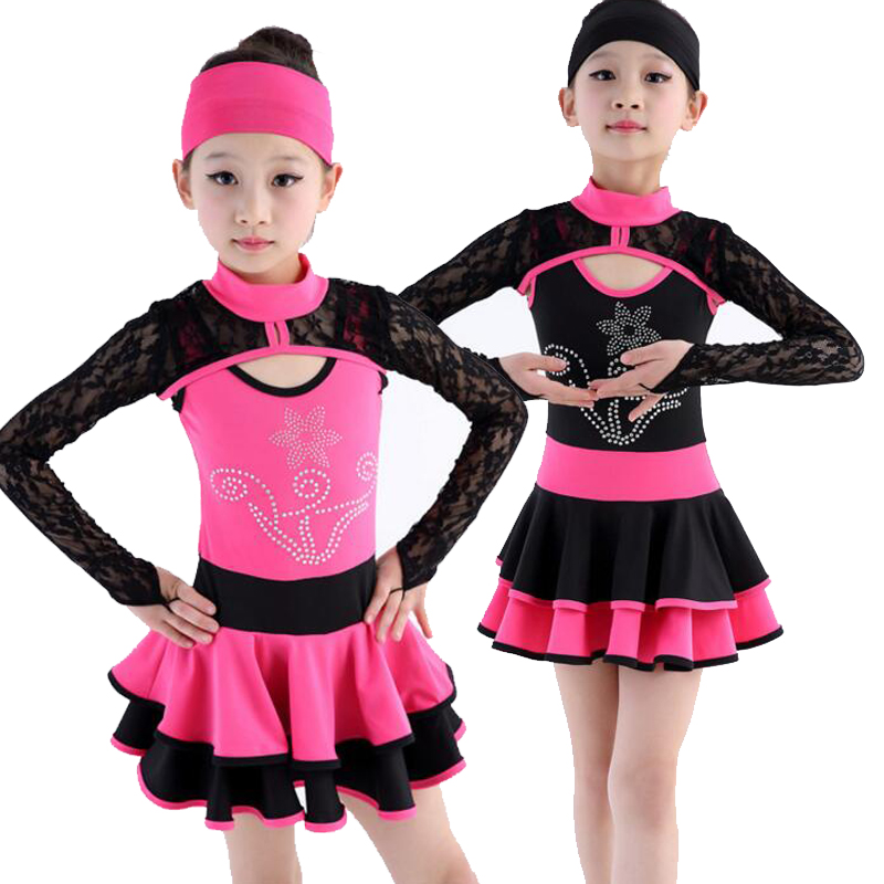 Girls Latin Dance Dress Ballroom Dress Black Tango Dress Kids Salsa Dance Skirt Competition Stage Dancewear Outfits
