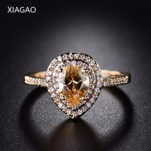 XIAGAO 2017 New Fashion Double Halo Finger Ringen Gold-color Ring Heart Love Crystal CZ Zircon Wedding Jewelry For Women XGR297