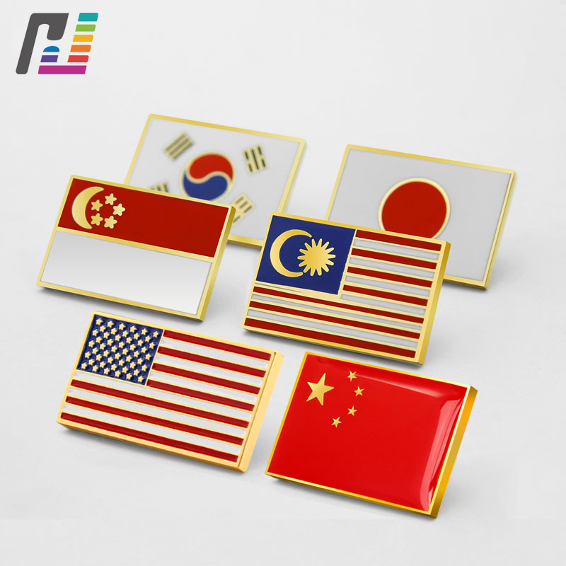 Custom Hard/soft Enamel National Badge Lapel Pin American Flag Pins Malaysia Singapore Japan Flag Badges Buy at Least 50PCS
