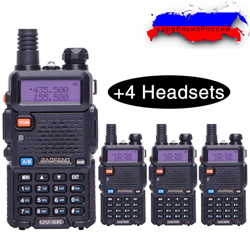 4 stücke Baofeng BF-UV5R Amateur Radio Tragbare Walkie Talkie Pofung UV-5R 5 watt VHF/UHF Radio Dual Band Zwei weg Radio Uv 5r Cb Radio