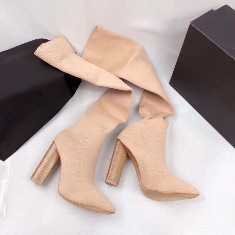 Fashion Stretch Fabric Socks Women Long Boots Women's Boots Pointed Toe Yarn Elastic Ankle Boots Thick Heel High Heels Shoes 40 xiuningyan women s boots round toe elastic ankle boots thick heel high heel shoe woman female fashion stretch socks boots winter