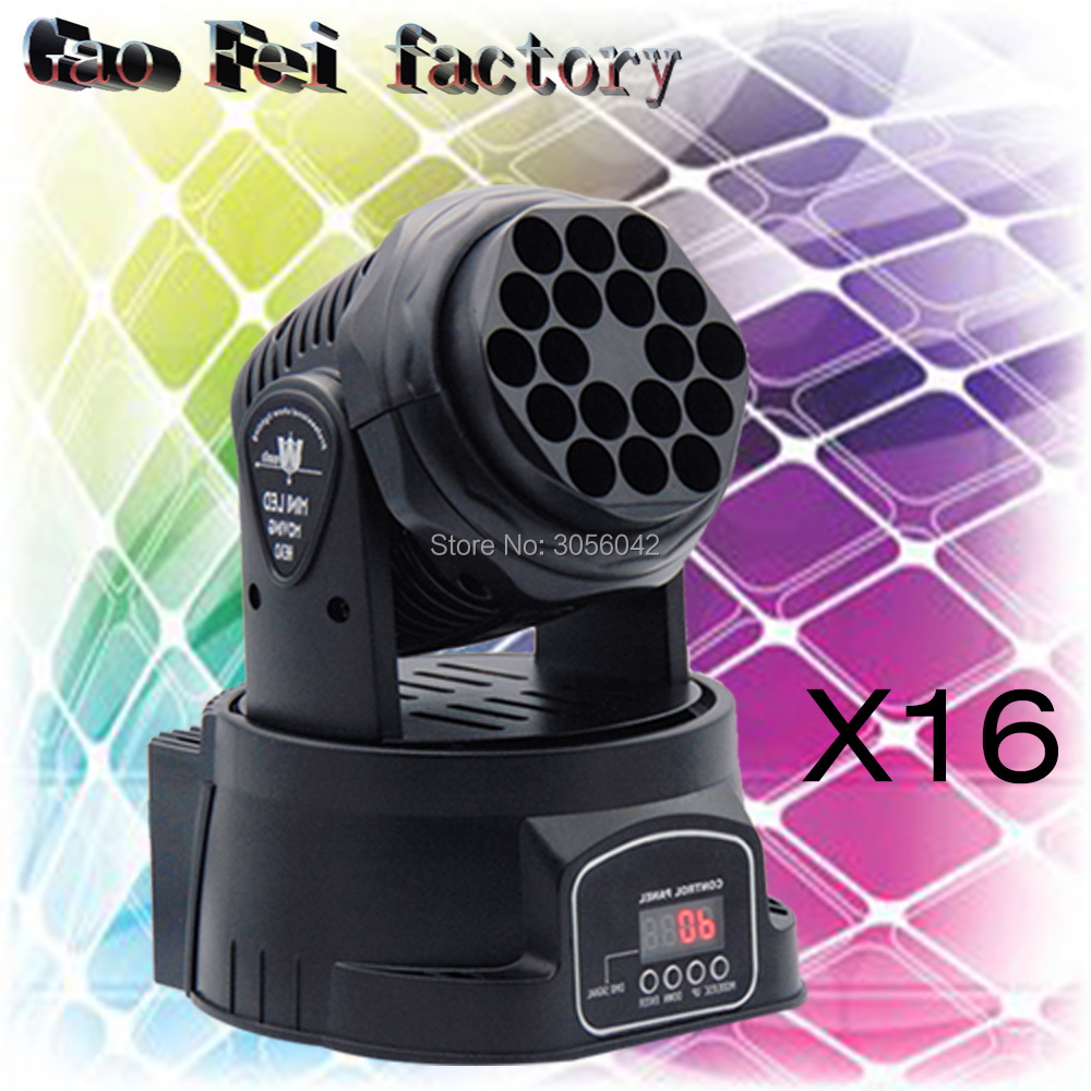16pcs/lot Led Beam moving head spot lights china RGB 18X3W RGB LED Beam DMX 13 Channels Moving Head Light led dmx mini beam moving head light dj light mobil light 7x12w rgb led beam moving head with 16 channels
