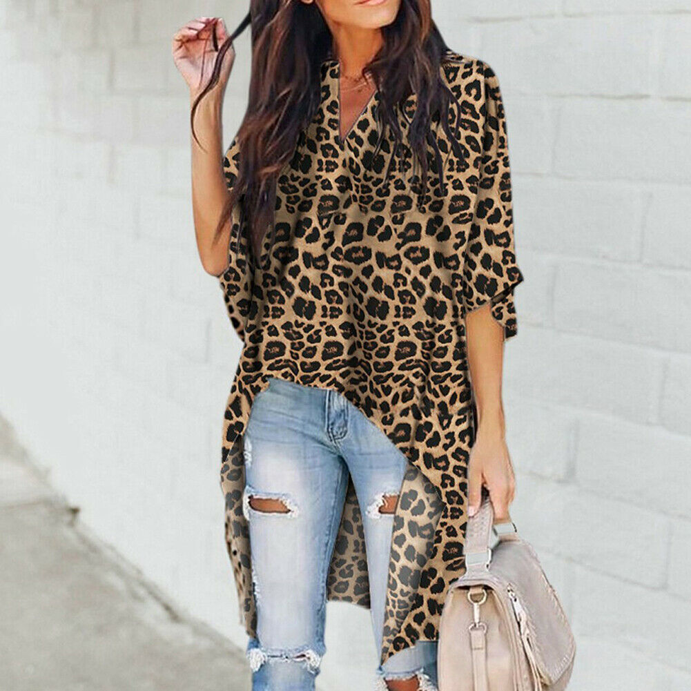 Fashion Women's Casual V-Neck Blouse Half Sleeve Long Shirt Ladies Irregular Leopard Print Womens Tops And Blouse Summer