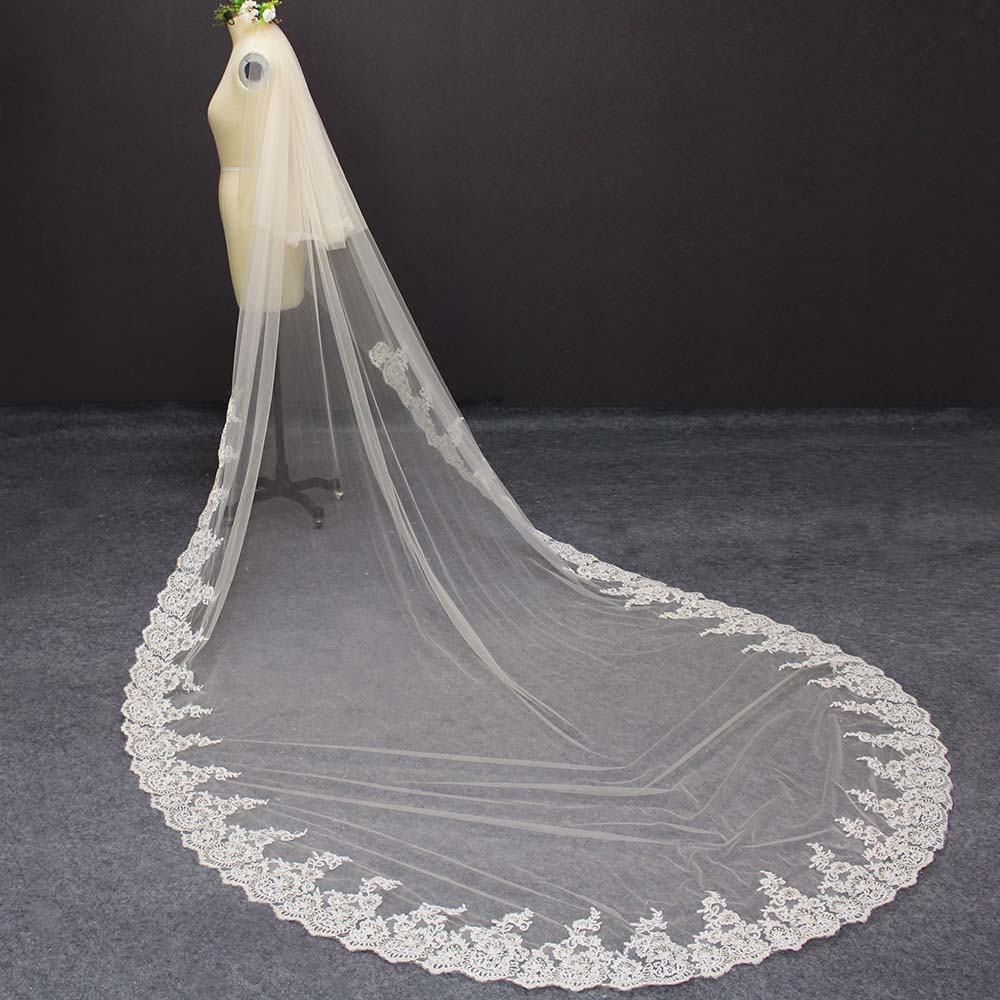 Champagne 2 Layers Partial Lace Wedding Veil 3 Meters Long 2T Cover Face Bridal Veil Champagne/Ivory/White Bride Veil