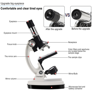 Image 2 - 100X 1200X Kids Beginner Biological Microscope metal body with phone holder adapter Plastic Slides and Carrying Box