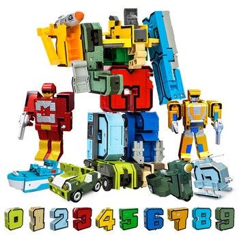 10Pcs Creative Assembling Educational Blocks Action Figure Number Transformation Robot Deform Plane Car Gift Toys for Children
