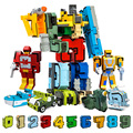 10Pcs Kreative Montage Pädagogische Blöcke Action Figure Anzahl Transformation Roboter Verformen Flugzeug Auto Geschenk Spielzeug für Kinder
