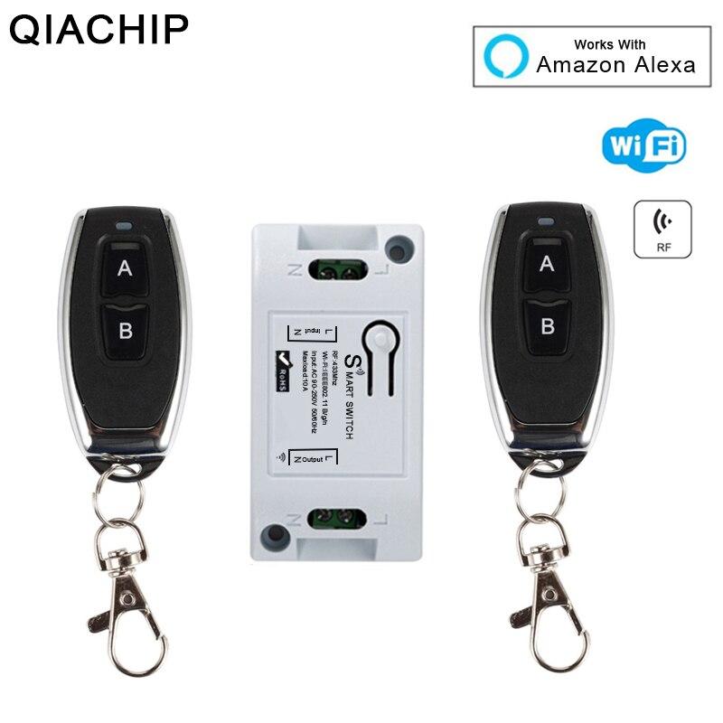 QIACHIP 433 Mhz Wifi RF inalámbrico de relé interruptor de Control remoto Wifi interruptor de luz de casa inteligente aplicación de Control trabajar con Amazon alexa DIY