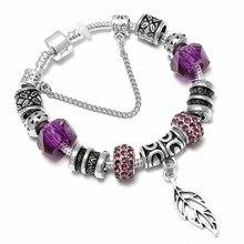 dfadc80e4 SPINNER Big Maple Leaves Pendant DIY Charm Bracelet Purple Crystal Pandora  Bracelet for Women Jewelry Gift