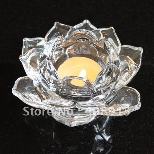 Clear Crystal Glass Lotus Flower Candle Holder Wholesale Retail