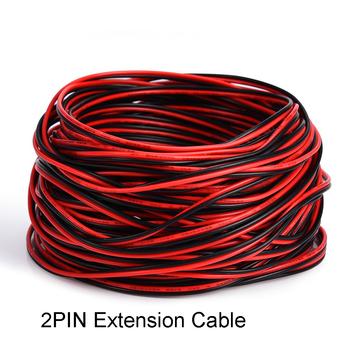 Taśma Led 2Pin przedłużacz przewód elektryczny czerwony czarny kolorowy przewód elektryczny na pojedynczy kolor 3528 5050 LED Stirp Lighting tanie i dobre opinie Miedzi 2pin single cable Stałe connect Izolowane extension wire cable 1M 5M 10M 250v 2 5A EU Standard Shenzhen