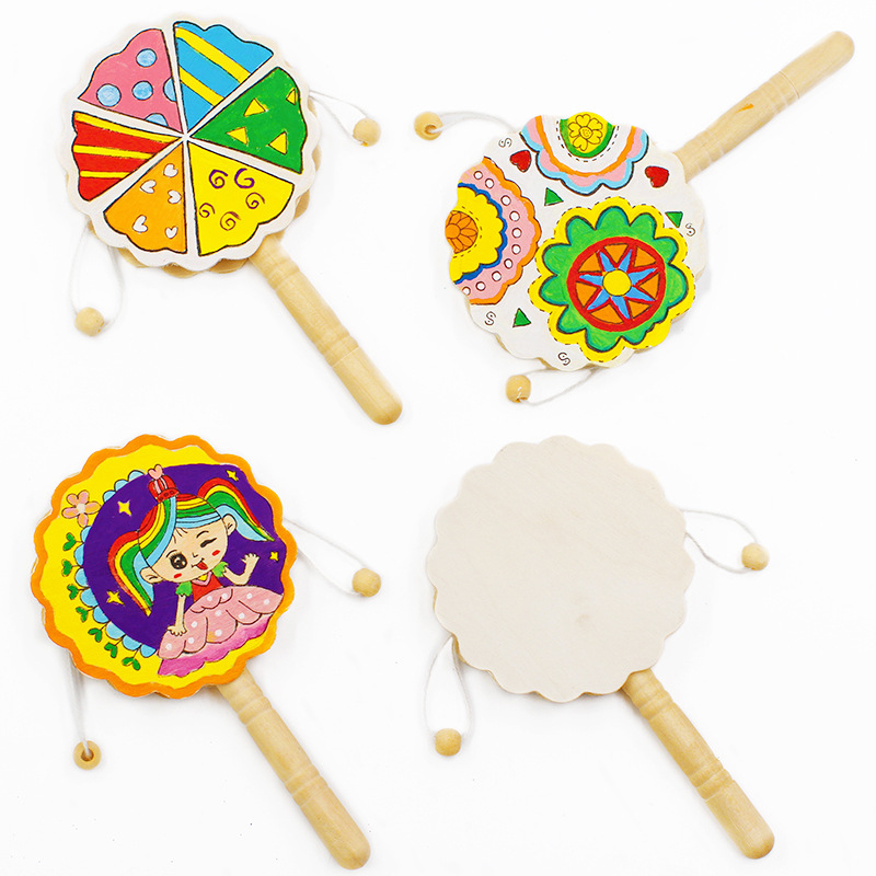 Apparel Sewing & Fabric 1pc Natural Color Wood Rattle Pellet Drum Toy Children Handmade Graffiti Instruments Creativity Educational Gifts Kid Diy Crafts Jade White
