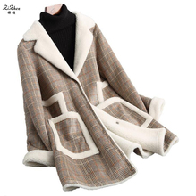ZiZhen Winter British Plaid Women's Cashmere Natural Wool Coat Real Lamb Fur Liner Overcoat Long Fur Collar Pockets 180709-7