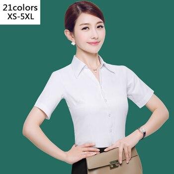 2019 Verão OL Camisa Branca Mulheres Ladies Escritório Tops de Manga Curta Preto Plus Size Blusas Mulheres Trabalham Camisa XS-5XL 21 cores