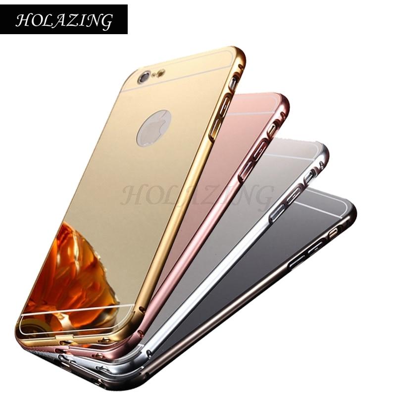 HOLAZING 2 в 1 съемная металлический Алюминий бампер для iPhone SE/5S с зеркалом сзади твердый переплет для iPhone 5