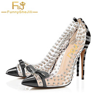 FSJ Transparent PVC White Bow Decoration High Heel Pumps Women Pointed Toe Shoes Zapatos Spring Summer