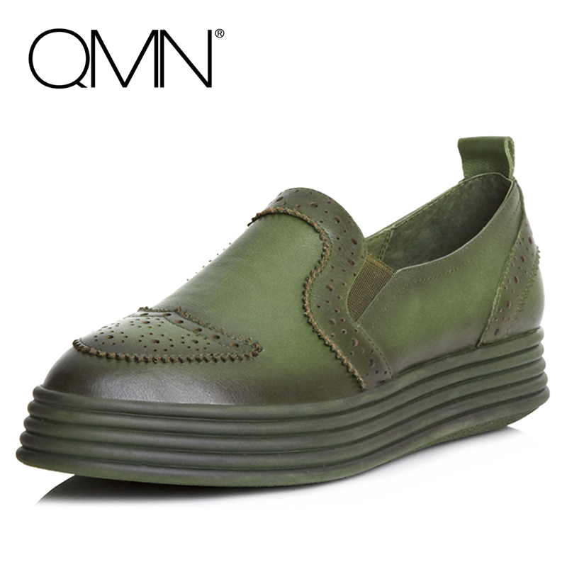 QMN women brushed leather platform loafers Women Round Toe Slip On Flat Casual Shoes Woman Genuine Leather Platform Flats qmn women brushed leather platform brogue shoes women round toe lace up oxfords flat casual shoes woman genuine leather flats