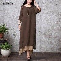 Fashion Cotton Linen Vintage Dress 2015 Summer Autumn Women Casual Loose O Neck Boho Long Maxi