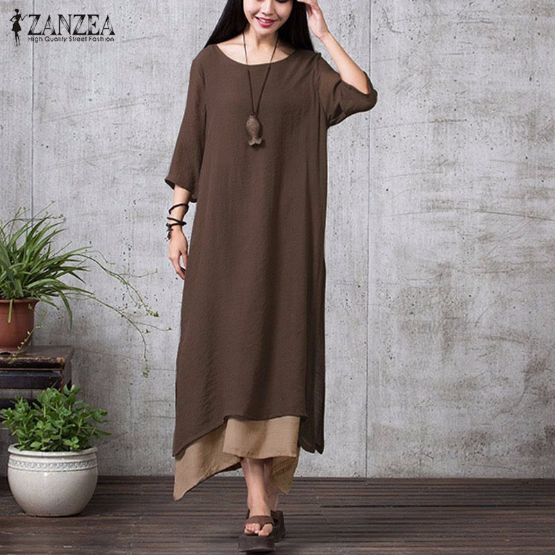 ZANZEA Fashion Cotton Linen Vintage Dress 2017 Summer Autumn Women Casual Loose Boho Long Maxi Dresses Vestidos Plus Size