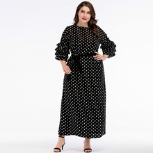 Chiffon Polka Dot Layer Sleeves Vintage Dresses Women Dress 2019 Spring Holiday Beach vacation maxi dress Female plus size