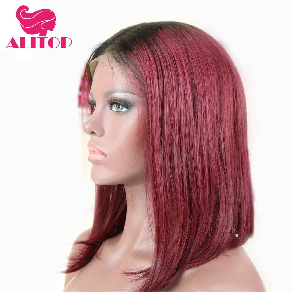 Alitop Hair Short Lace Front Human Hair Bob Wigs 1b 99j Straight Brazilian Remy Human Hair Middle Part Lace Front Wig For Woman Human Hair Lace Wigs