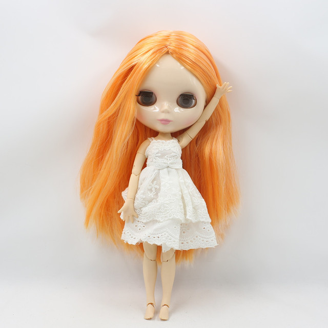 ICY Neo Blythe Doll White Orange Hair Jointed Body