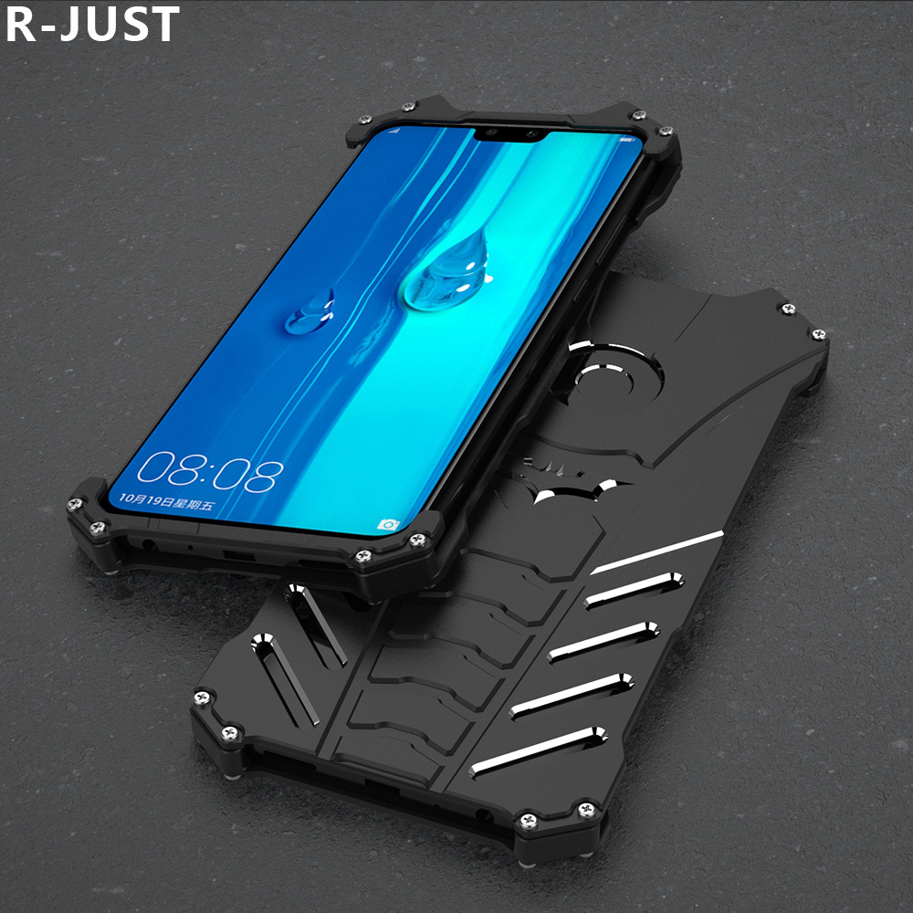 R-JUST For Huawei Y9 2019 Case Cover Luxury Hard Metal Aluminum Alloy Shockproof Armor Phone Case For Huawei Enjoy 9 Plus Cover