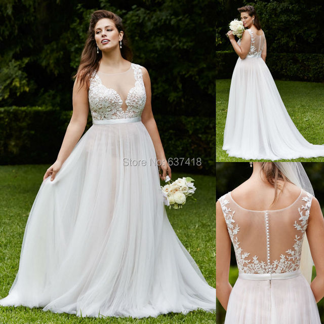 Ivory Beach Wedding Dress with Lace Appliques and Illusion Back Plus ...