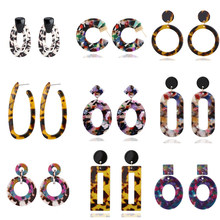 Ufavoirte Fashion Jewelry Acrylic Resin Oval Dangle Earrings For Women Geometry Big Circle Acetate Brincos jewelry