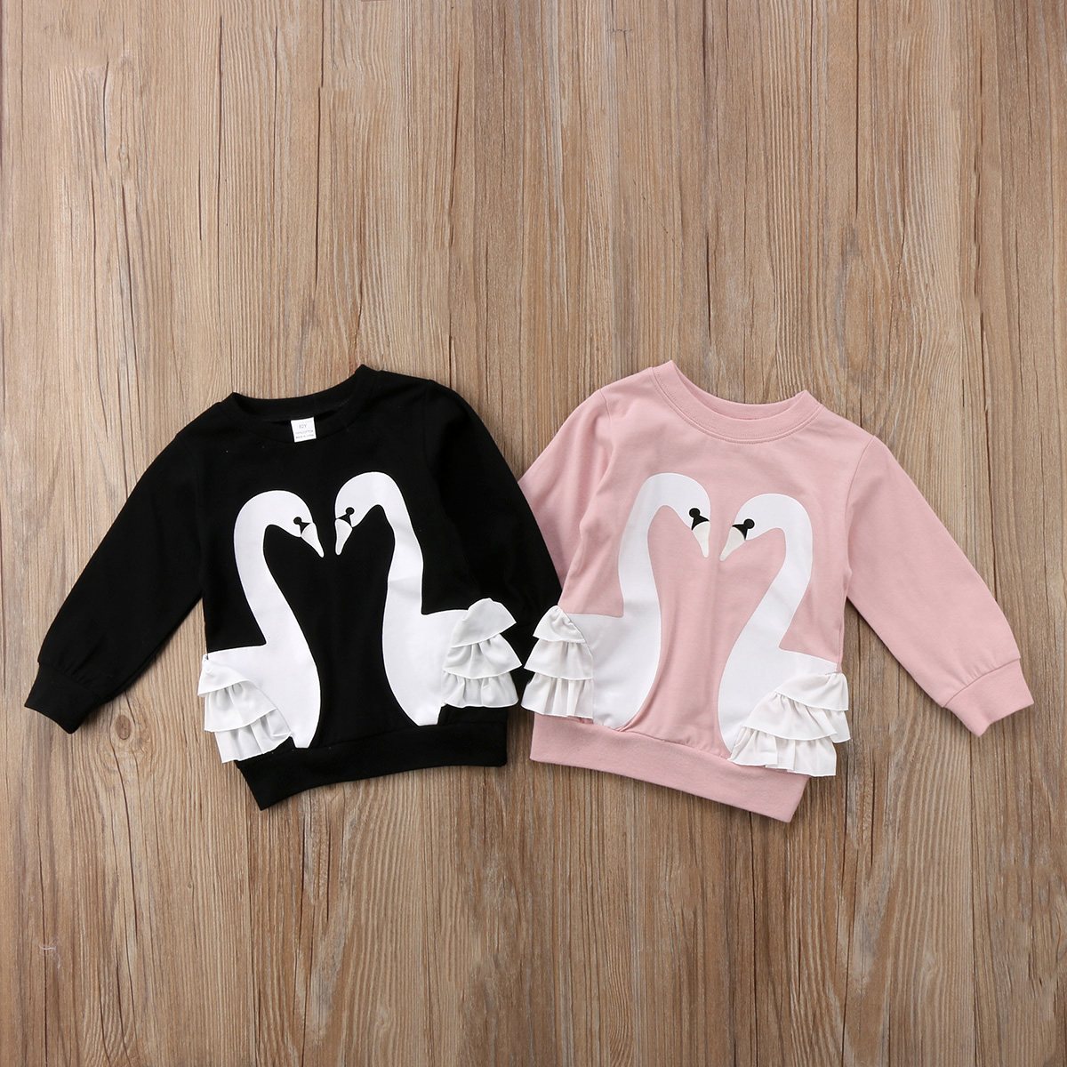 цена на Toddler Kid Baby Girl Cotton Cartoon Long Sleeve Lace T-shirt Top Sweatshirt Pullover