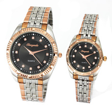 New Style Full Stainless Steel Band Crystal Dial Womens Mens Quartz Wrist Watch