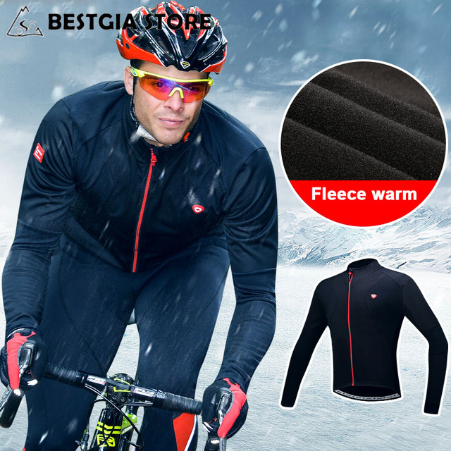 19091f242 Santic Cycling Jacket Coat Winter Thermal Fleece Long Sleeve Windproof Warm Jacket  Clothing MTB Bike Men Reflective Sports Coat