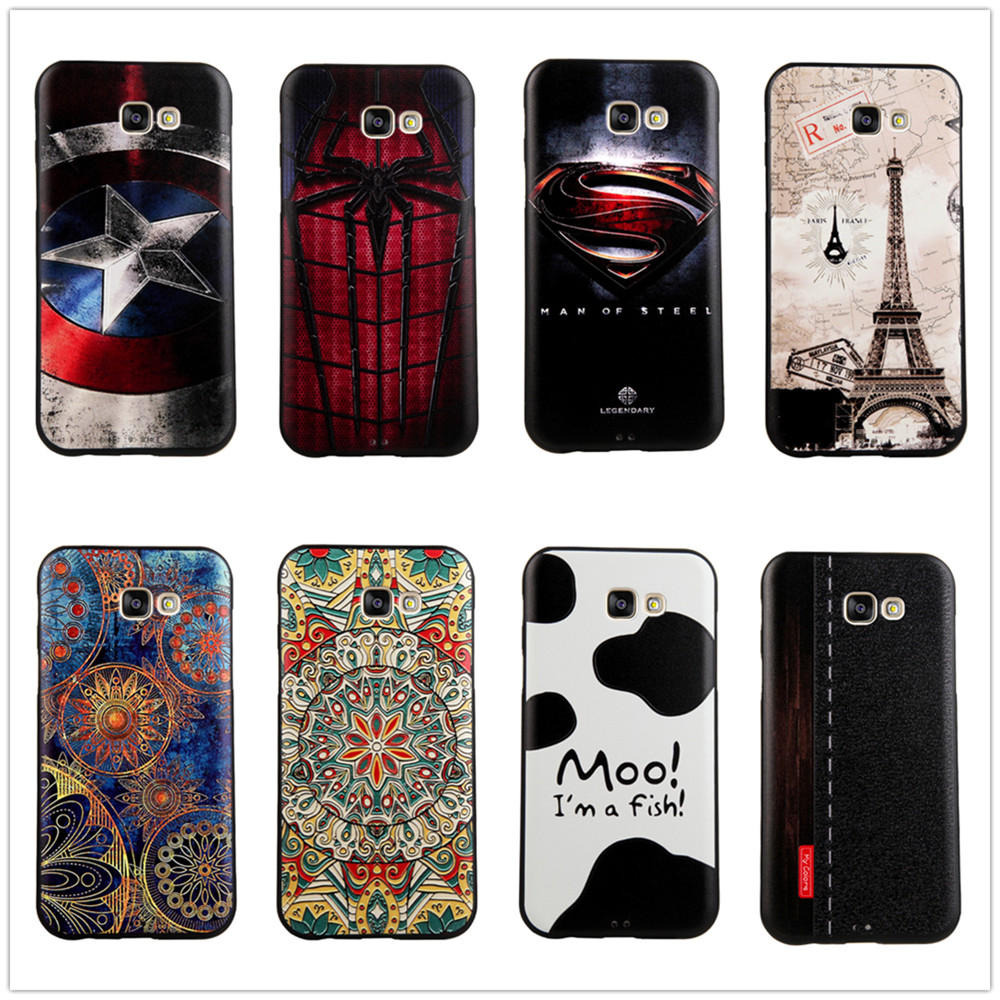 For Samsung Galaxy A7 2017 Case A720 Silicon 3D Cover Slim Cartoon Cute Luxury Soft Relief