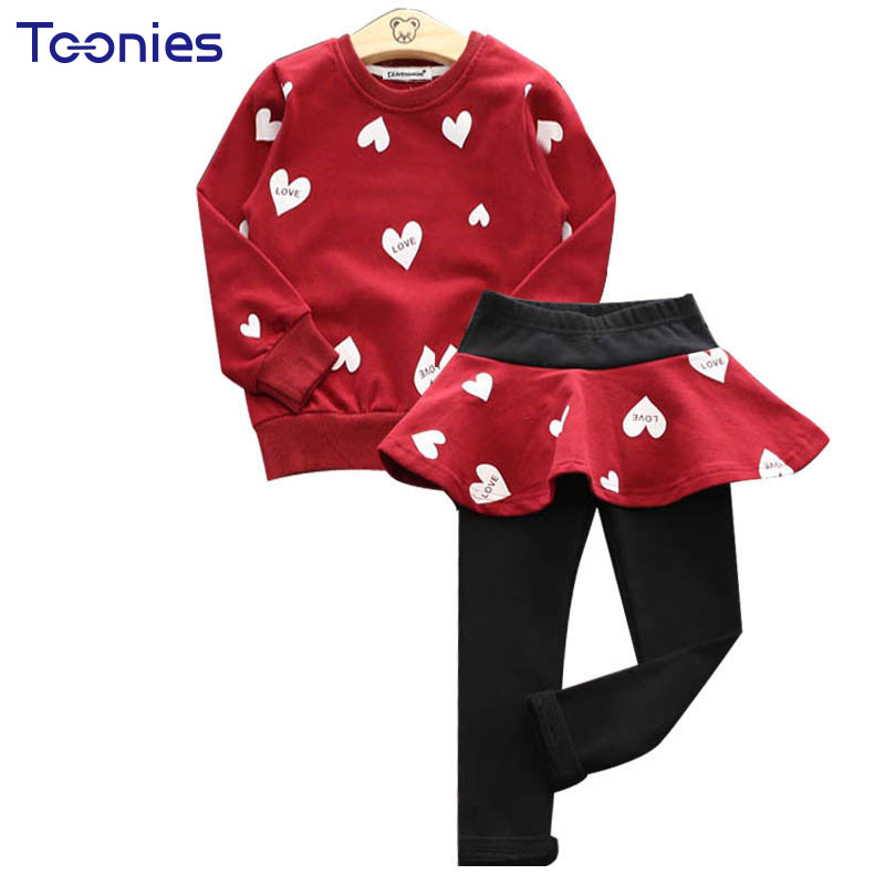 2017 Kids Clothes Set Suit Girls Autumn Sets Long Sleeve Hoodies Leggings Girl Skirt Printed Casual Pullover Children's Clothing autumn winter girls children sets clothing long sleeve o neck pullover cartoon dog sweater short pant suit sets for cute girls