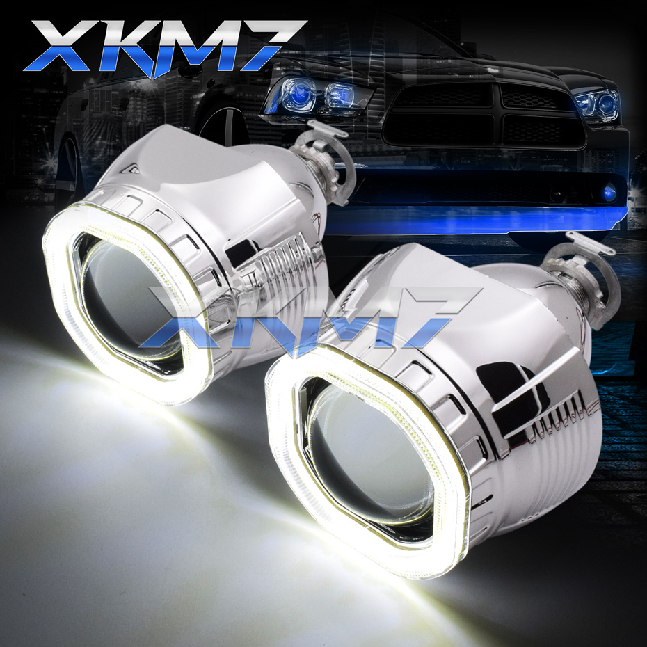 Square LED COB Halo Angel Eyes HID Bixenon Projector Lens H1 H4 H7 Xenon Headlight Running Light 2.5'' Car Motorcycle Tuning Kit