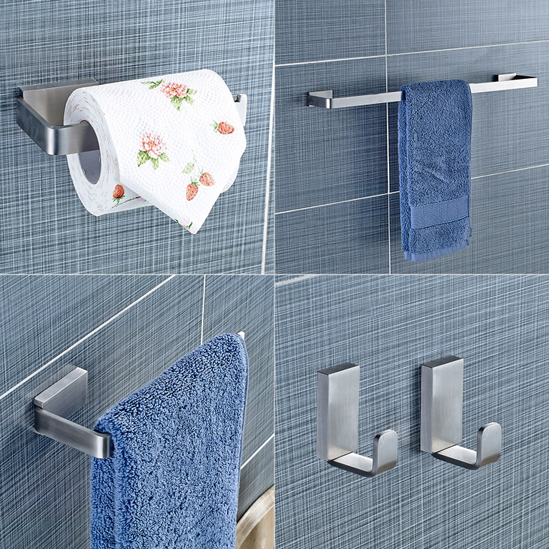 Yanjun 304 Stainless Steel Bathroom Hardware Set Brushed  Holder Paper Holder Towel Bar Robe hook Bathroom Accessories YJ-81960 leyden towel bar towel ring robe hook toilet paper holder wall mounted bath hardware sets stainless steel bathroom accessories