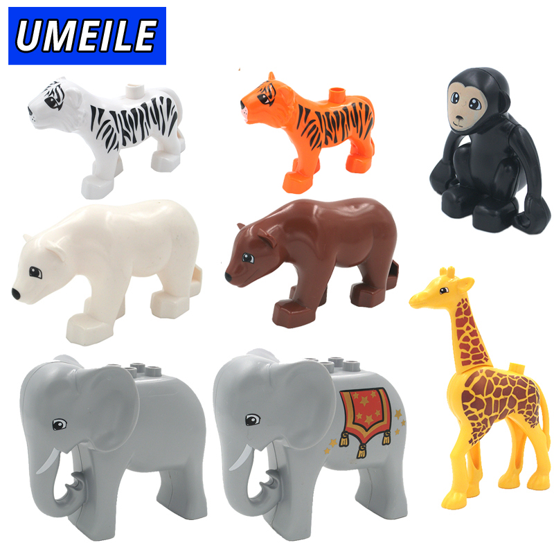 UMEILE Brand 1PCS Original Duplo Animal Large Particle Building Blocks Zoo Set Kids Toys DIY Brick Compatible With Duplo Gift role family worker figure character large particle building blocks original accessory toys compatible with duplo diy kids gift