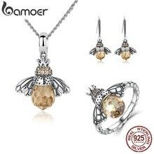 BAMOER 100% 925 srebrny zestaw biżuterii piękny pomarańczowy Bee zwierząt zestawy biżuterii rocznica ślubu zestawy biżuterii dla nowożeńców ZHS043