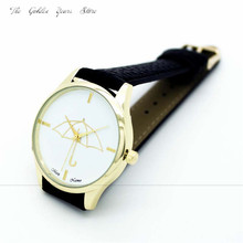 New 2017 watches clock hour gift Fashion Women girl lady Umbrella Style Leather Band Analog Quartz Wrist Watch 1129d20