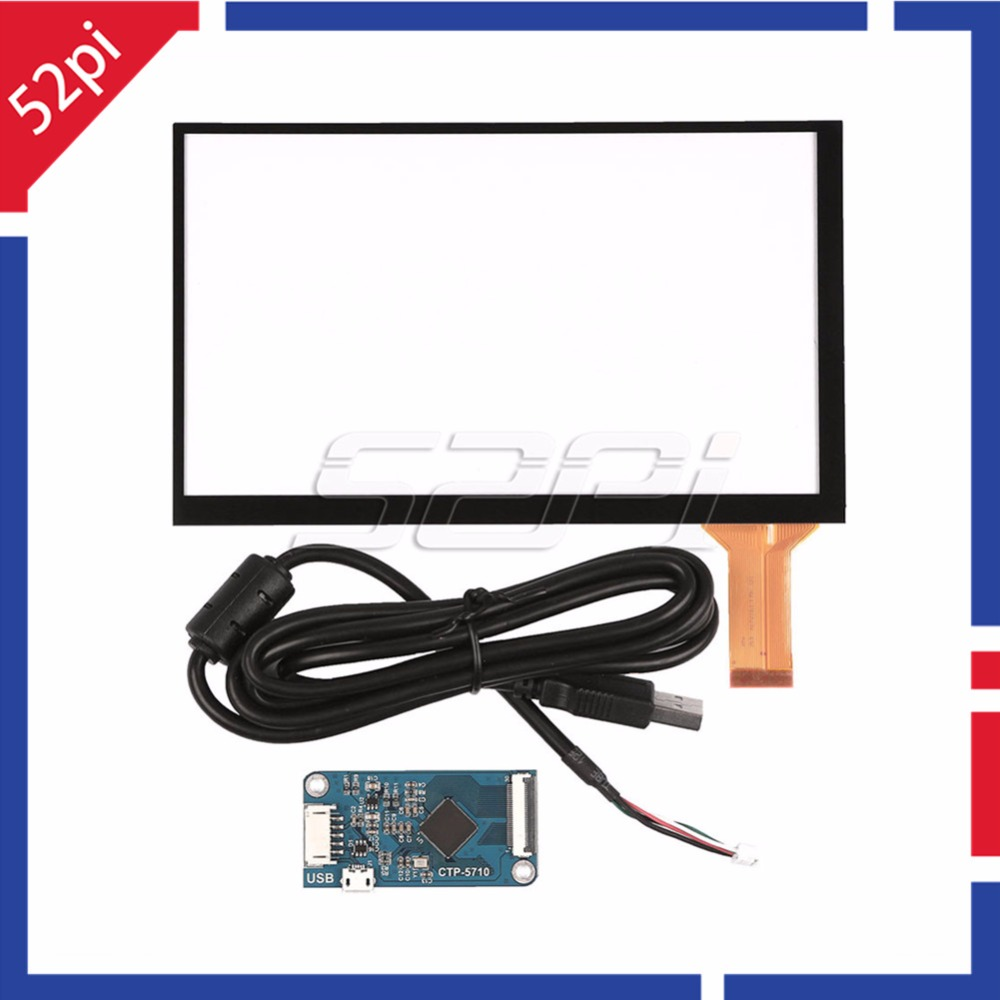 все цены на 52Pi Original 7 inch Capacitive Touch Screen Digitizer Panel Glass Sensor Kit with CTP Driver Board and USB Cable for CTP-5710 онлайн