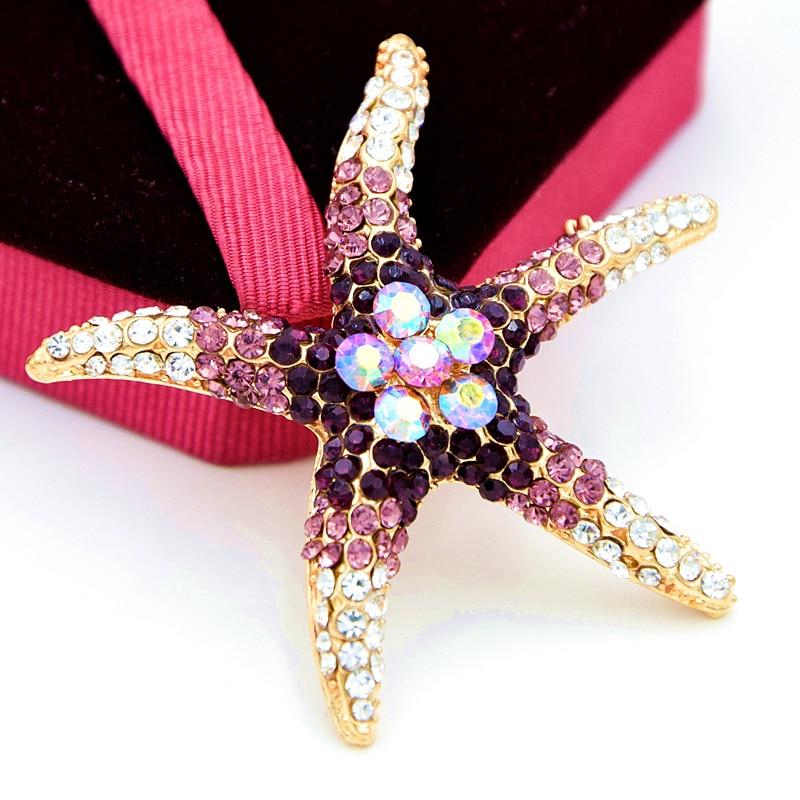 cff23a9907f2 Al por menor! oro tono púrpura cristal grande Starfish broche Venta  caliente dama de la moda bufanda Pasadores precioso collar Pasadores