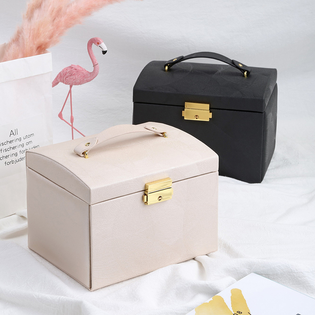 Casegrace New Jewelry Box Large Capacity Leather Storage Jewelry Box Earring Ring Necklace with Mirror Watch