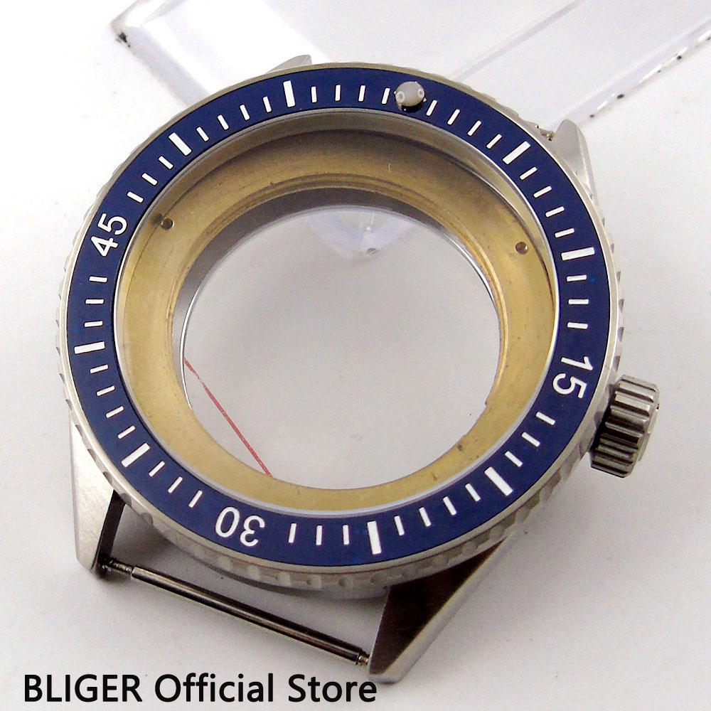 New 43mm BLIGER 316L stainless steel blue ceramic sapphire glass case fit ETA 2824 2836 movement men's watch case CA82 все цены