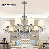 Modern White LED K9 Crystal Chandelier Lighting For Living Room Bedroom Dining Room Glass Lampshade Ceiling