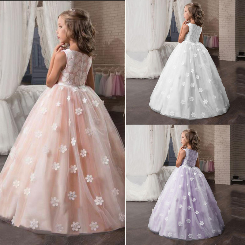 Fancy Flower Long Prom Gowns Teenagers Kids Dresses For Girls Children Party Dress Princess Bridesmaid Wedding Formal Costume