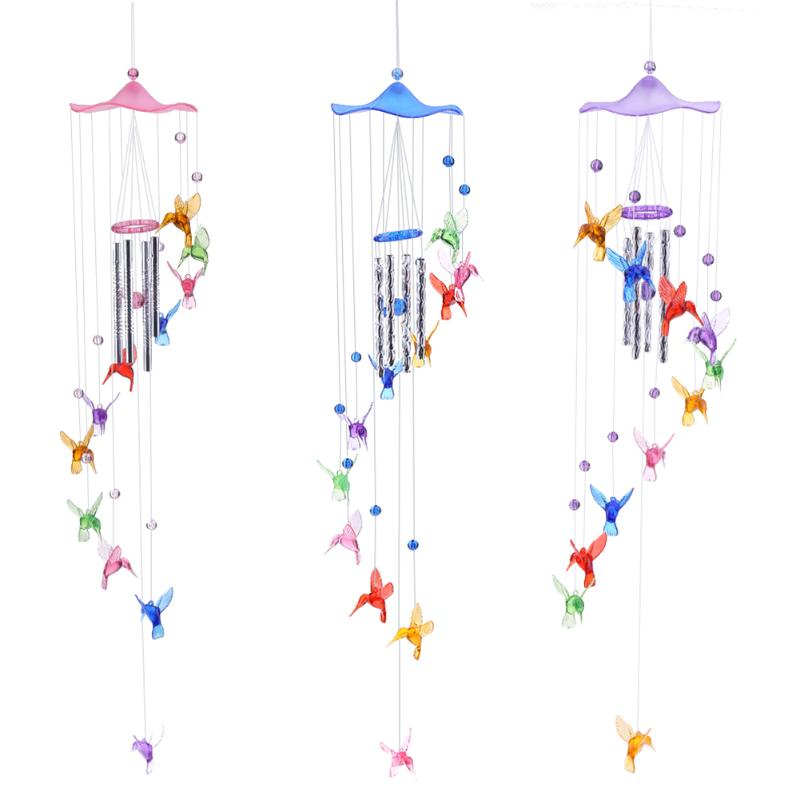 Creative Lucky Humming Bird Wind Bells Chimes Hanging Gifts Home Decor Outdoor Garden Window Hanging Decoration